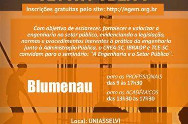 Dia 18 tem seminário sobre a engenharia no setor público