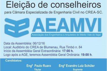 Hoje tem Assembleias e Eleição para Câmara de Engenharia Civil do CREA-SC. Programe-se!