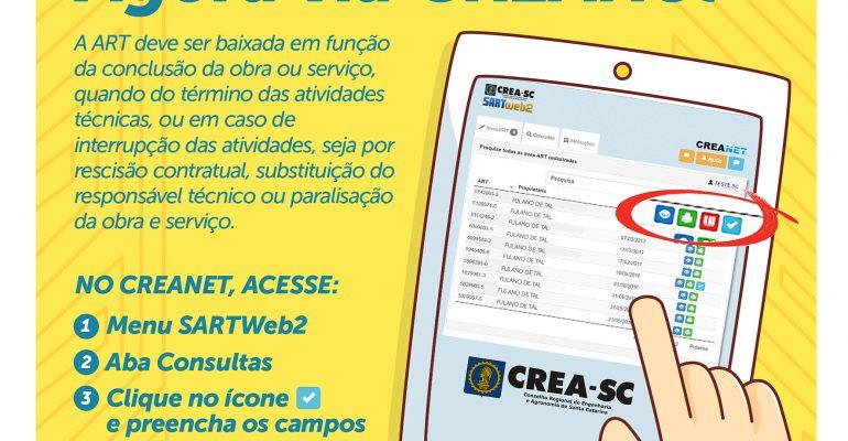 CREA-SC disponibiliza ferramenta para baixa de ART via CREANET