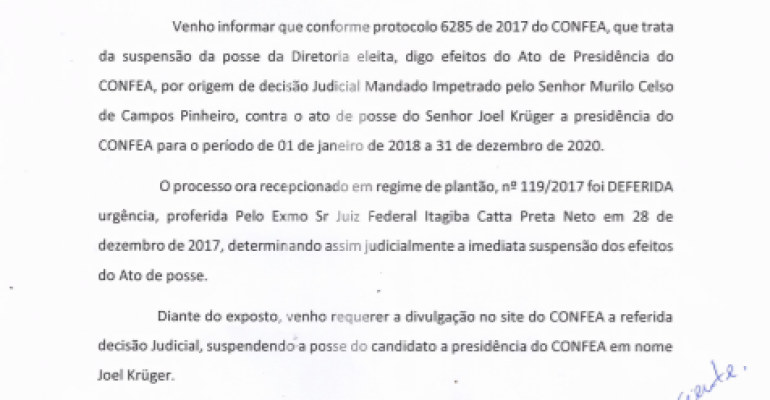 Mandado judicial impede a posse do presidente eleito do Confea