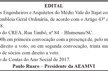 Dia 31 tem Assembleia Geral Ordinária da AEAMVI para prestação de contas de 2017