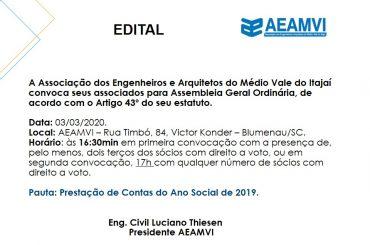 EDITAL | CONVOCAÇÃO PARA ASSEMBLEIA GERAL ORDINÁRIA